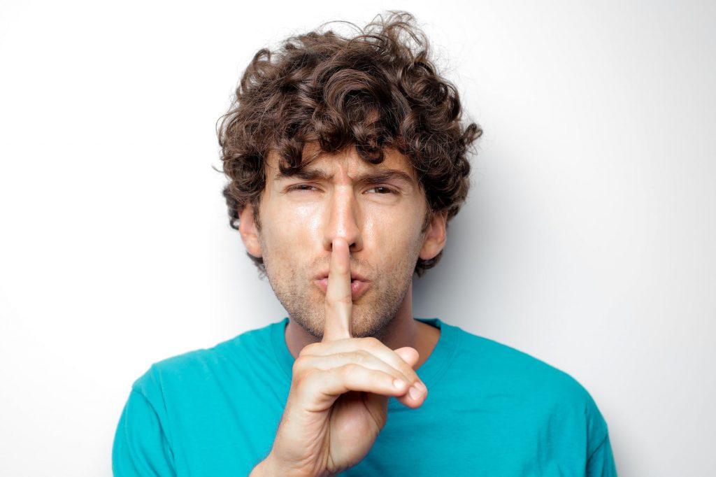 Man being quiet
